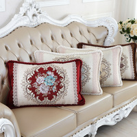 Europe Vintage Pillow Cover Floral Embroidered Rectangle Cushion Covers For Living Room Sofa Chair Decorative plush pillowcases