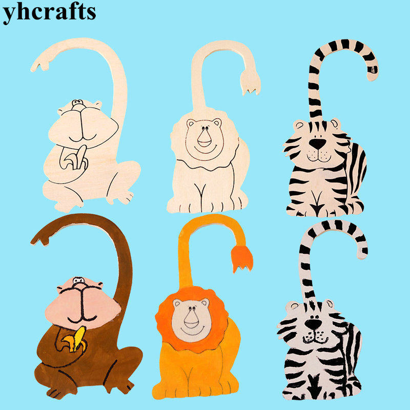 3PCS LOT Paint unfinished animal door hanger Drawing toys Creative toy Early learning educational toy Kindergarten