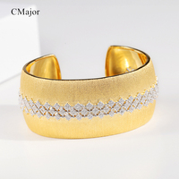 CMajor S925 Silver Jewelry Vintage Palace Style Hollow Luxury Wide Gold Color Open Bracelets For Women