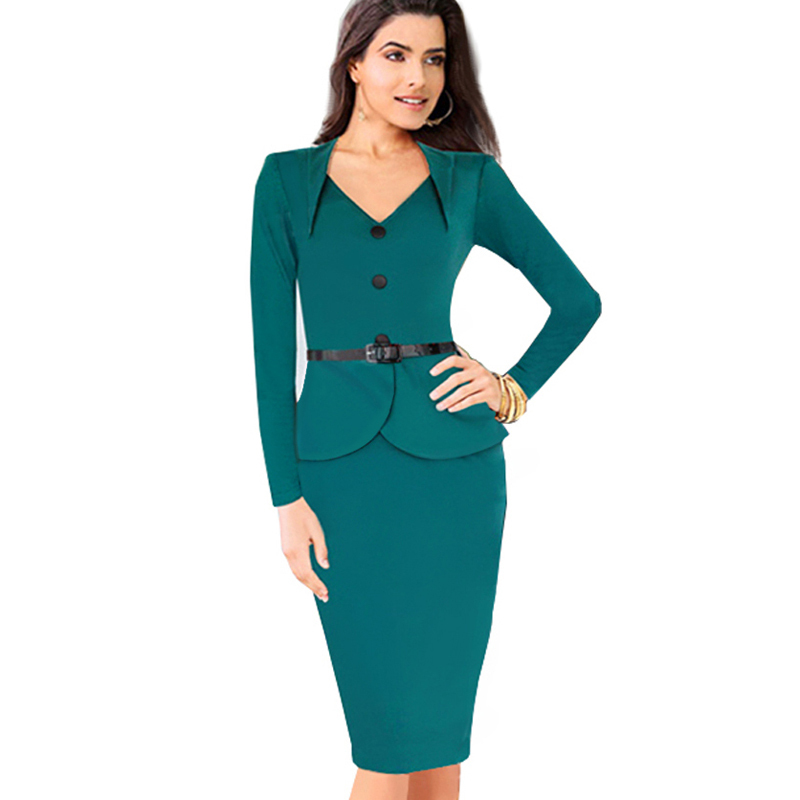 7e1700ecbfb Plus size long sleeve winter dress autumn elegant knee length office dress