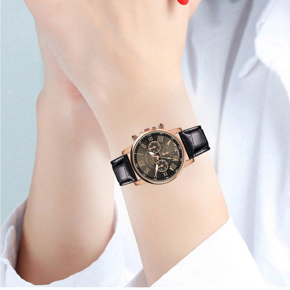 Relojes Mujer 2019 Fashion Leatheroid Band Big Dial Black Watch New Mens Quartz Fashion Sport Wrist Watch Women Men Casual Watch