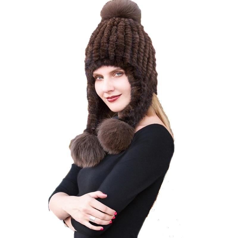 Chapéu de pele de bombardeiro feminino 100% importação vison boné de pele longa raposa pompom inverno quente earmuffs chapéu preto marrom
