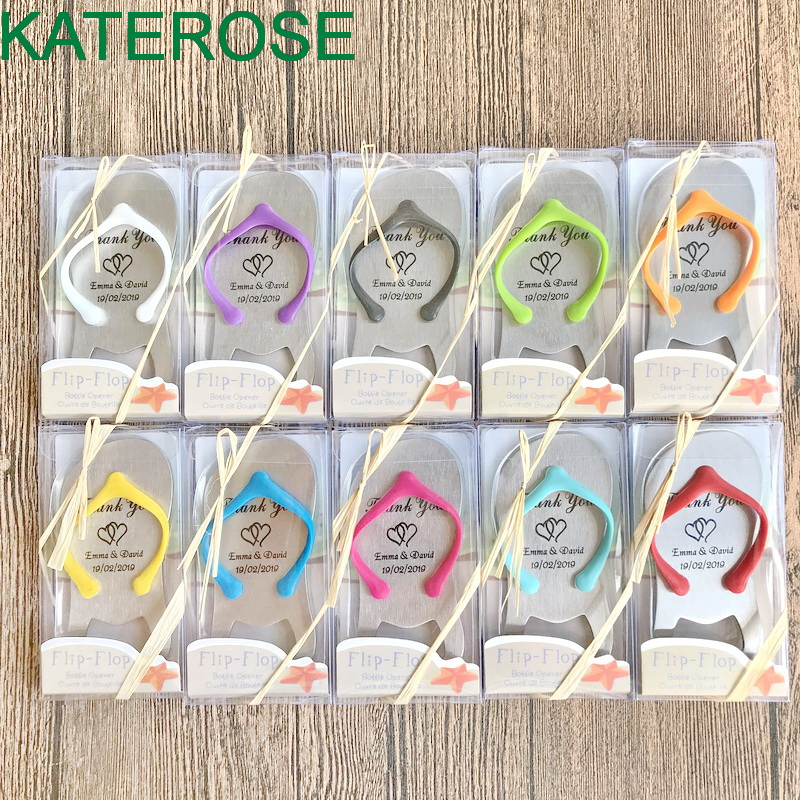 FREE SHIPPING 40PCS LOT Customized LOGO Flip Flop Bottle Opener In Gift Box Personalized Wedding Favors