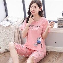 Letter stripe printed short-sleeved T-shirt calf-length pants 2pcs pajamas cute panda pyjamas women girl pijama mujer invierno