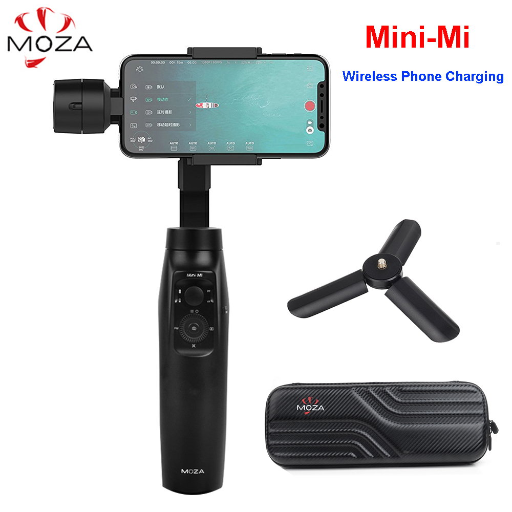 MOZA Mini-Mi 3-Axis Handheld Gimbal Wireless Charging Stabilizer for iPhone X 8Plus 8 S9 S8 Action Camera PK Zhiyun Smooth 4 / Q zhiyun smooth 4 3 axis handheld smartphone gimbal stabilizer vs zhiyun smooth q model for iphone x 8plus 8 7 6s samsung s9 s8