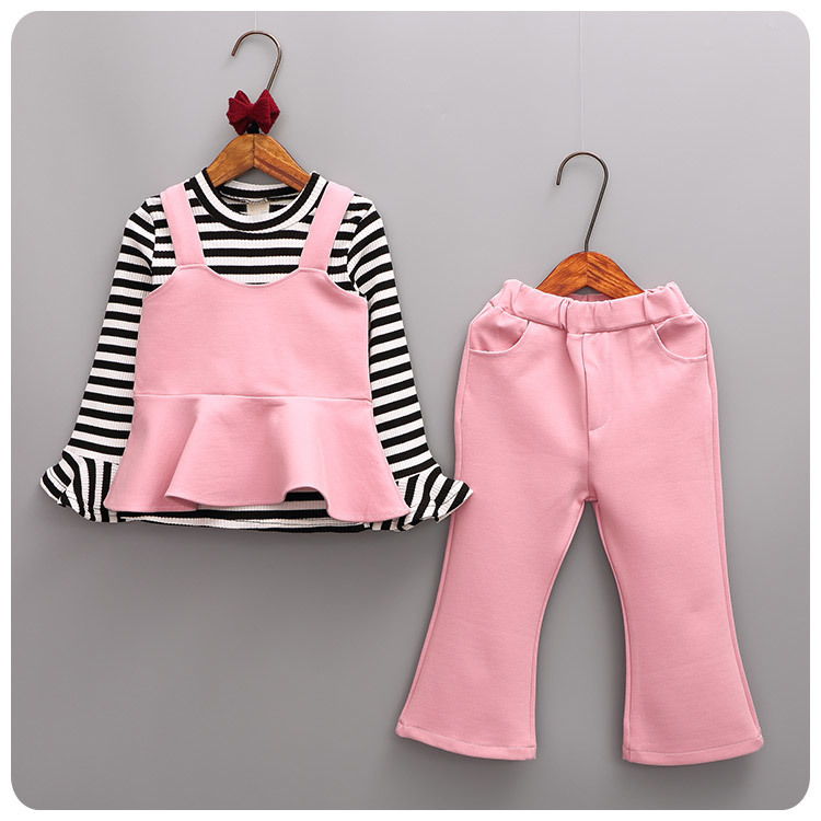 2016 Autumn New Pattern 3 Pieces Set Korean Girl Children's Garment Girl Baby Stripe T-Shirt Vest Camisole Wide Leg Pants Suit 2016 spring new pattern korean children s garment girl baby lace back will bow dress girl jacket