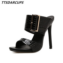 TTSDARCUPS New high heeled sandals Belt buckle snake pattern heel fish mouth pumps Plus Size 35-40 Sexy night shop Women Shoes