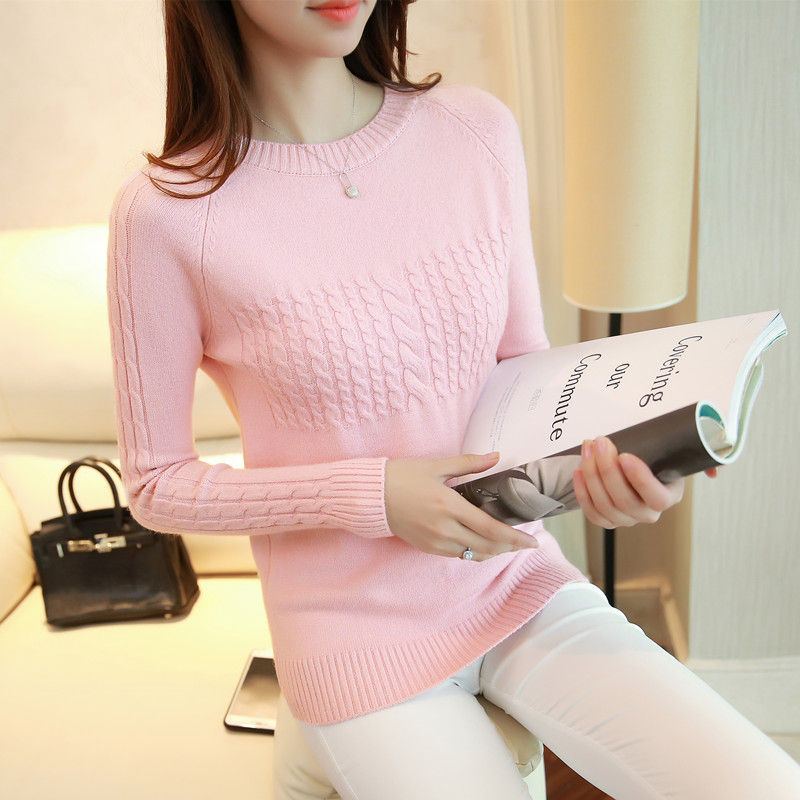 GenuineVANLED Z235 2017 New Winter Women Thick Sweater All-Match O-Neck Solid Pull Femme Pullovers Criss-Cross Christmas Sweater