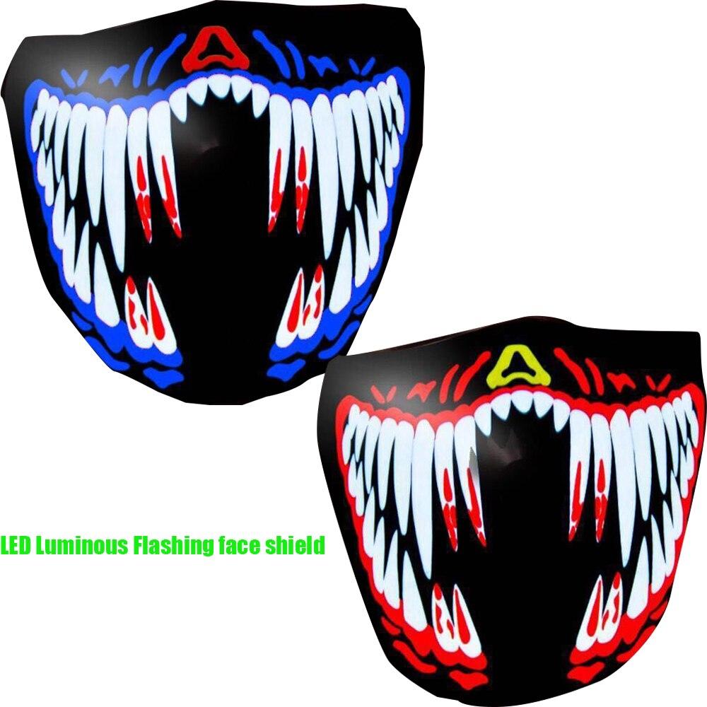 Motorcycle mask Halloween LED Luminous Flashing face shield Party Masks Light Up Dance Halloween Cosplay Masks