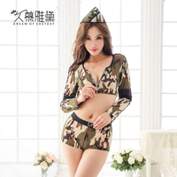 DRAIMIOR Sexy camouflage Police Uniform Set Erotic Costumes Sexy Lingerie Hot Sex Role Play Cosplay Female soldier NJY0062