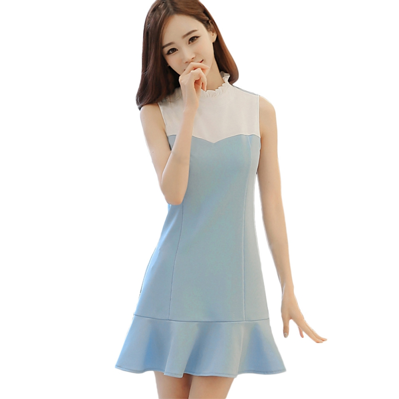 2018 Summer Women Fashion Sleeveless Hit Color Mini Dress Lotus Leaf Hem Patchwork Dress