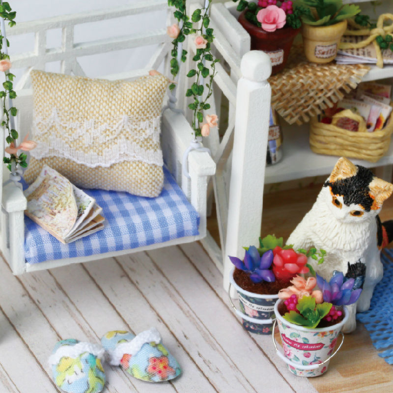 buy doll house furniture diy miniature dust cover wooden miniaturas dollhouse for child birthday christmas gifts toys kitten diary from