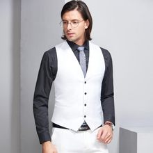 PEORCHID 2019 Man Wedding Suit Vest Best Man Gift Groom White Men's Waistcoat British Style Green/Grey/Purple Tuxedo Vest(China)
