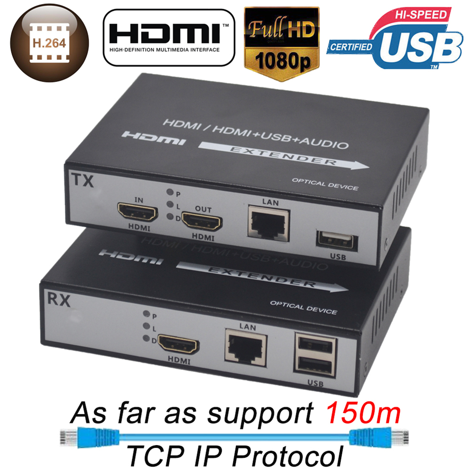 2019 150m HDMI USB Extender RJ45 IP Network USB KVM Over IP Extender Over Cat5 Cat5e Cat6 H.264 HDMI KVM Extender With Loop Out