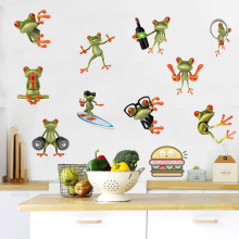 3D Funny Frog Toilet Sticker Fashion Modern Wall Green Stickers Girls Vinyl Home Decor