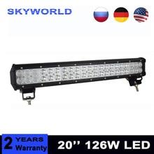 """20 """"polegadas 126 W Car LED Light Work Bar Offroad luz de Nevoeiro Veículo Lâmpada de trabalho LEVOU 12 V 24 V Luz de Condução Para O Caminhão Trator SUV ATV"""