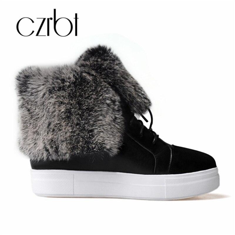 CZRBT hiver chaussures pour femmes ceinture en cuir chaud peau de lapin doux bottes de neige pour les femmes mode confortable chaussures pour femmes antidérapantes - 2
