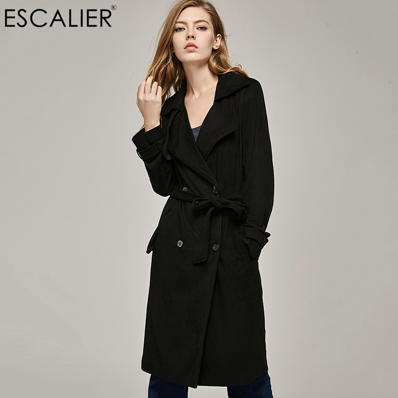 ESCALIER High quality Autumn Coat Women Slim Suede Casual Long Trench Coat with Sashes Double Button Turn-down Collar Overcoat
