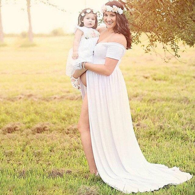 e1fef9709 Moda Maternidad Vestidos fotografía props verano playa blanco rosa  Maternidad vestido largo embarazada manga corta partido