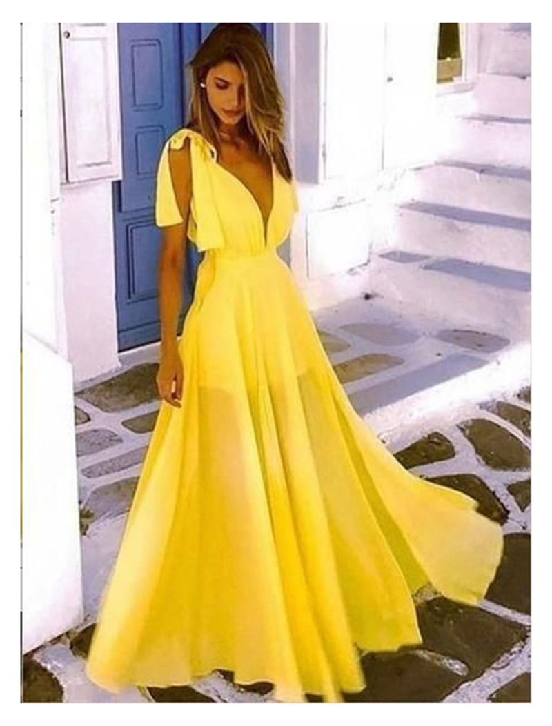 Elegant   Evening     Dress   2019 Yellow A Line Sexy Chiffon Women Prom Party   Dresses   Floor Length Prom   dresses   Custom Made