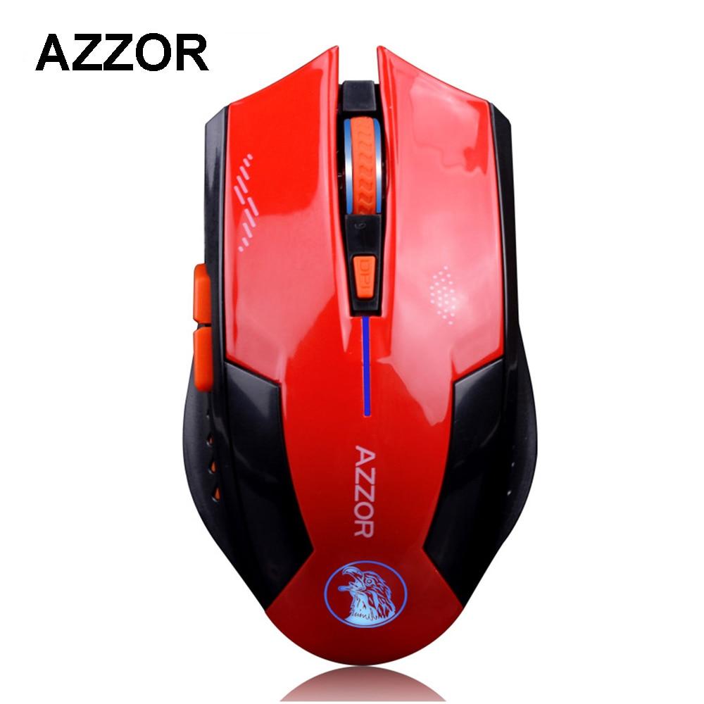 AZZOR Rechargeable Sans Fil Éclairer Souris D'ordinateur Souris de Jeu 1600 DPI 2.4G FPS Gamer Silence Au Lithium Batterie Construire-dans