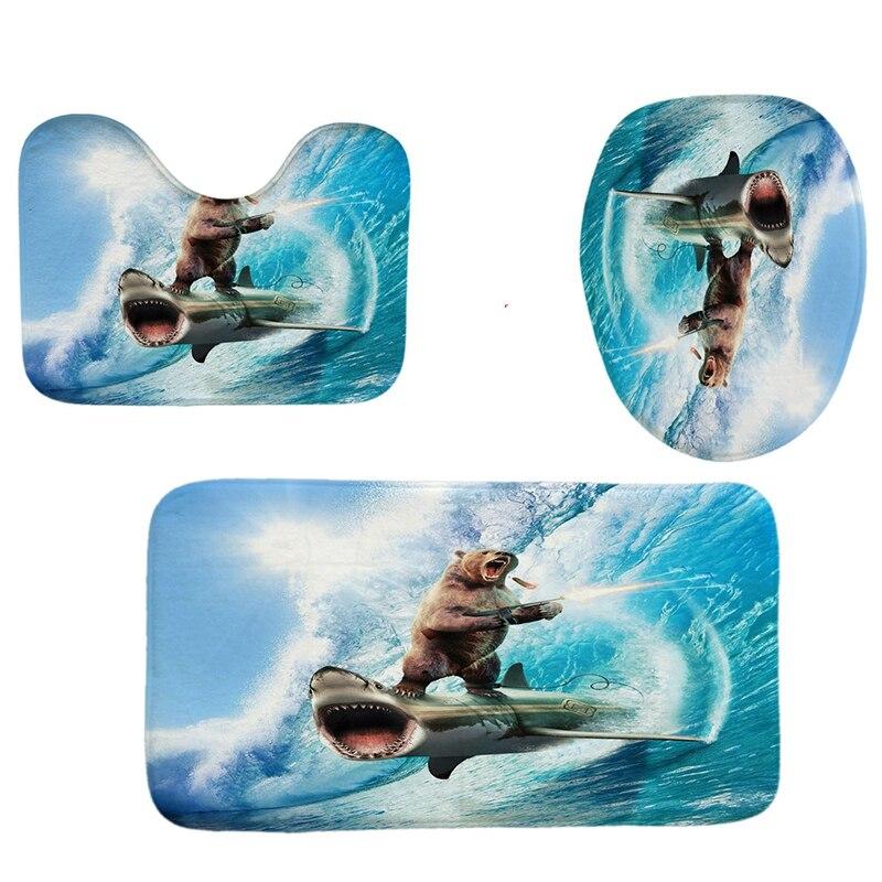 TOP!-4Pcs Home Bathroom Decor Set Bear And Shark Pattern Toilet Seat Cover Bath Mat Set+Waterproof Shower Curtain