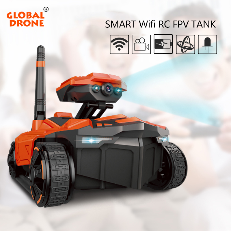 Global Drone RC Tank WiFi Phone Control by Iphone Android Robot with Camera 4CH APP Mini WIFI RC Tank Car Video with FPV Camera