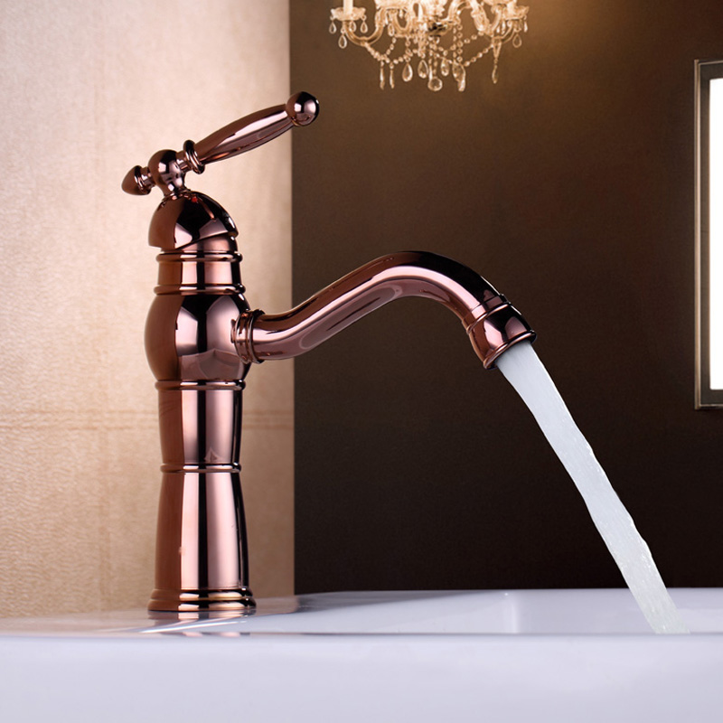 Rose Gold Basin Faucet Luxury Antique Deck Mounted Single Handle Lever High Arc Vessel Bathroom Brass Sink Taps new antique brass rose gold chinese dragon style bathroom basin waste pop up waste vanity vessel sink drain without overflow