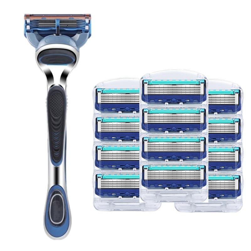 1Holder +12PCS Razor Blade Compatible For Fusione High Quality Men's Shaver Razor Blades 5 Layer Razor Blades