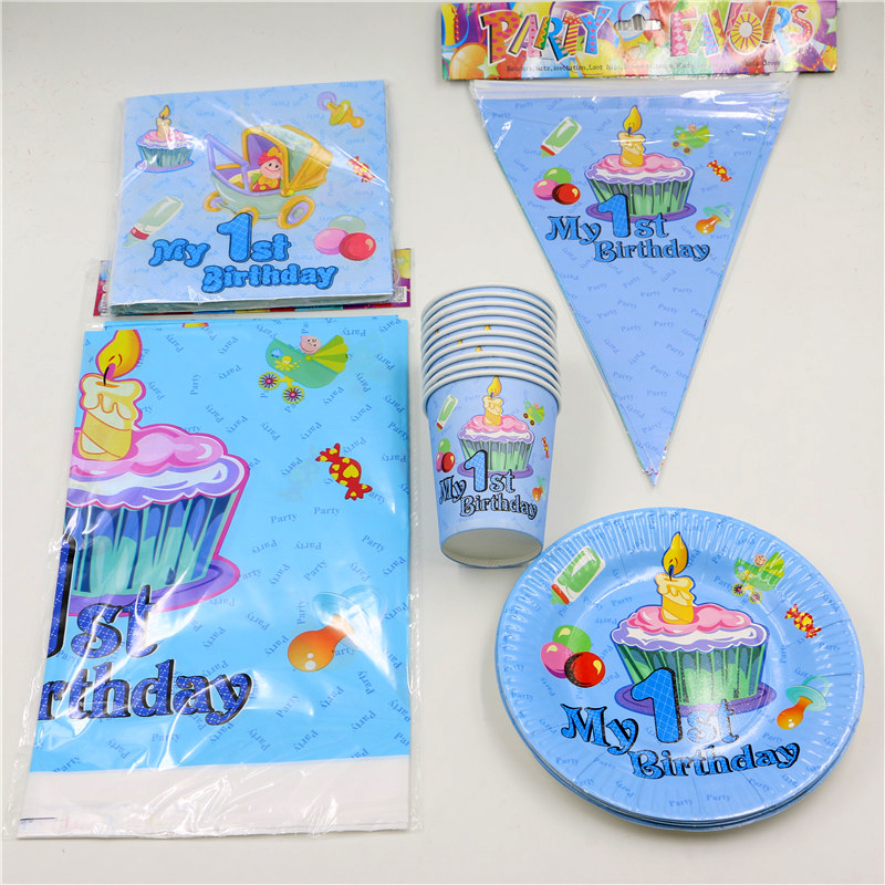 62pcslot Decoration Tablecloth Boys Girls Kids Favors Napkins 1st Birthday Party Paper Plates Cups Baby Shower Banner Supplies