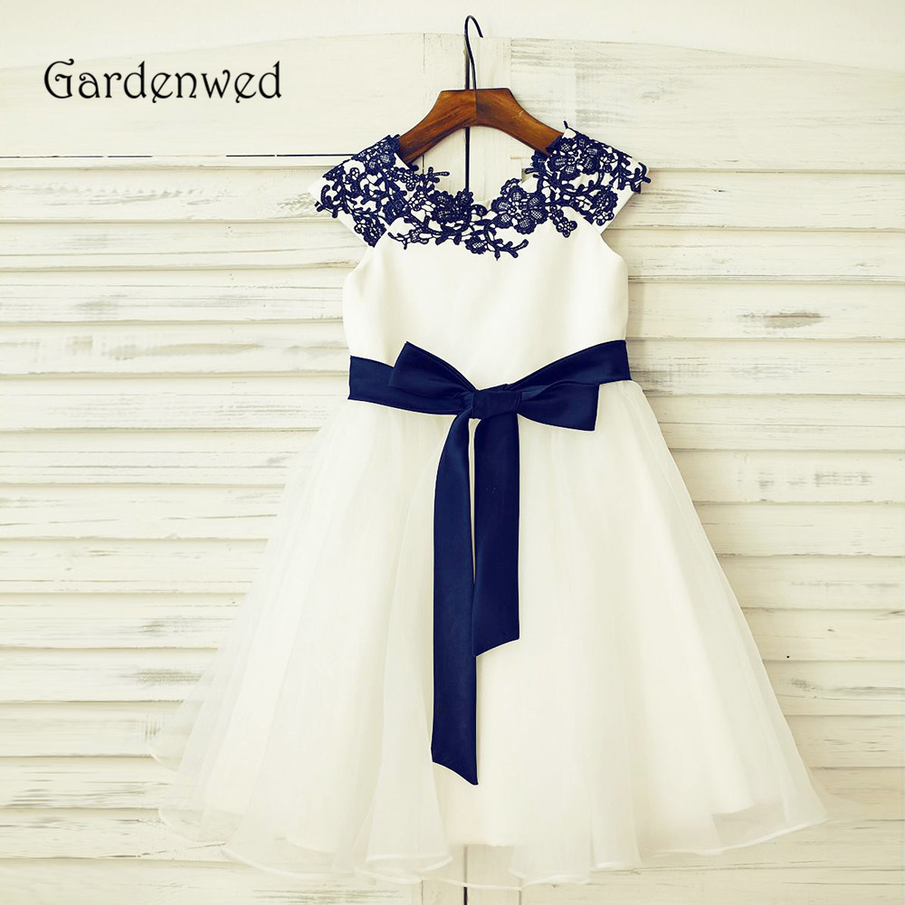 Unique Navy Blue Appliques Lace Neck   Flower     Girl     Dress   2019 Cap Sleeves Knot Belt A line Ivory Organza Children Wedding Vestido