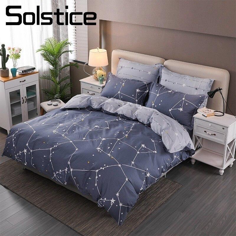 Solstice Textile de Maison Roi-Twin Ensemble de Literie Garçon Fille Enfant Adolescent 100% Coton Lin Constellation Couette Housse de Couette Taie D'oreiller feuille