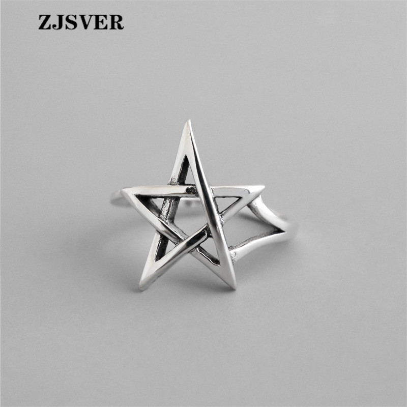 ZJSVER Fine Jewelry 925 Sterling Silver Rings Fashion Retro Silver Hollow Star Shape Opening Adjustable Women Ring For Gift(China)