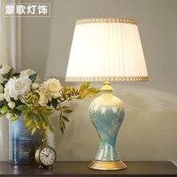 TUDA Free Shipping Large Table Lamp Ceramic Table Lamp Blue Vase Shaped Table Lamp Creative American