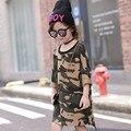 Niñas Ropa Barata de Manga Larga Vestido de Camuflaje Niño Suelta Recta Niños Estilo Casual Camisa de Niño Vestido X1205