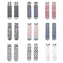 Children Knee High Long Socks For Baby Girls Boys Print Cat Fox Kids Socks Cotton Striped