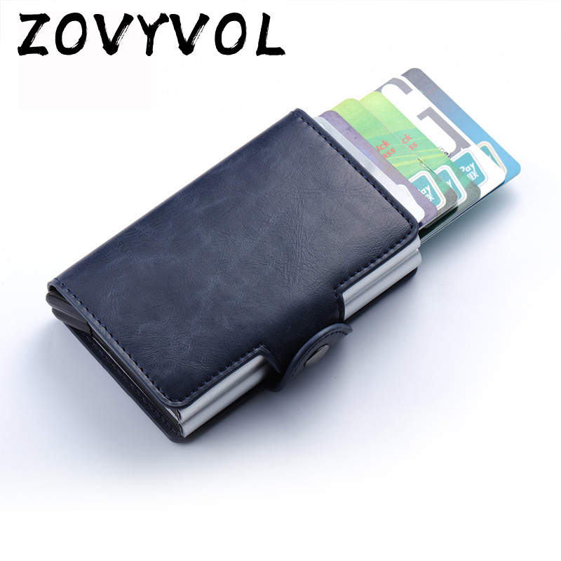 ZOVYVOL RFID Business Slim Wallet PU Leather Aluminum Double Layer Card Holder Automatic Popup ID Credit Card Coin Purse