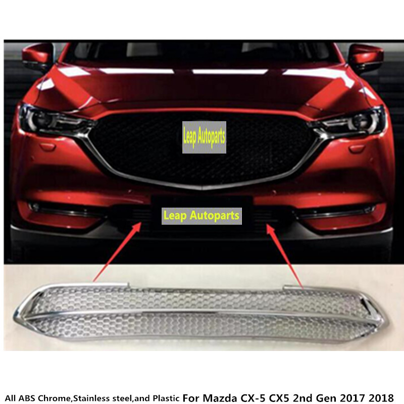 For Mazda CX-5 CX5 2nd Gen 2017 2018 auto body protection detector stainless steel trim Front up Grid Grill Grille panel 1pcs for mazda cx 5 cx5 2017 2018 2nd gen lhd auto at gear panel stainless steel decoration car covers car stickers car styling