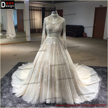 2016 surmount direct selling Ball Gown Long sleeves high-neck hand sewing Beaded dress Beaded gown Beading wedding dresses