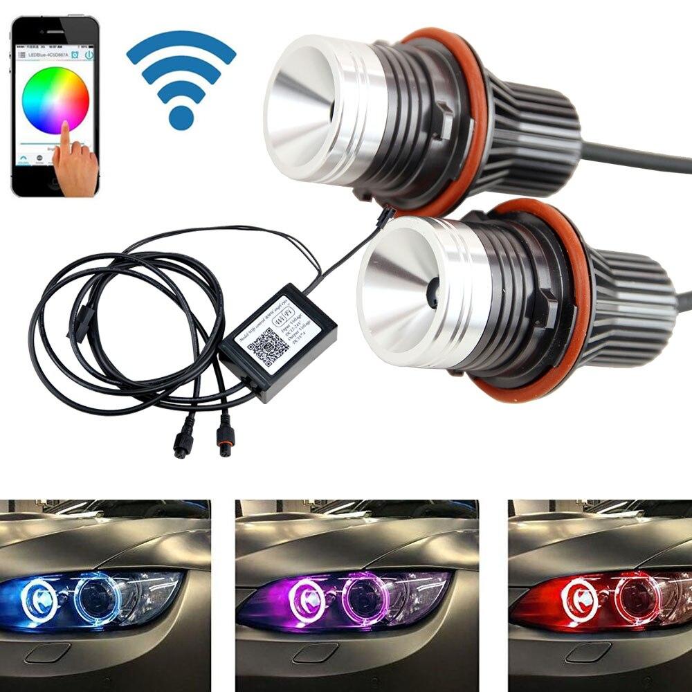 High-Tech Wifi téléphone contrôleur E39 rgb led Angel Eye led marqueur couleur changement rgbw Pour BMW E87 E39 E60 E65 e53 e36 e38 anneau