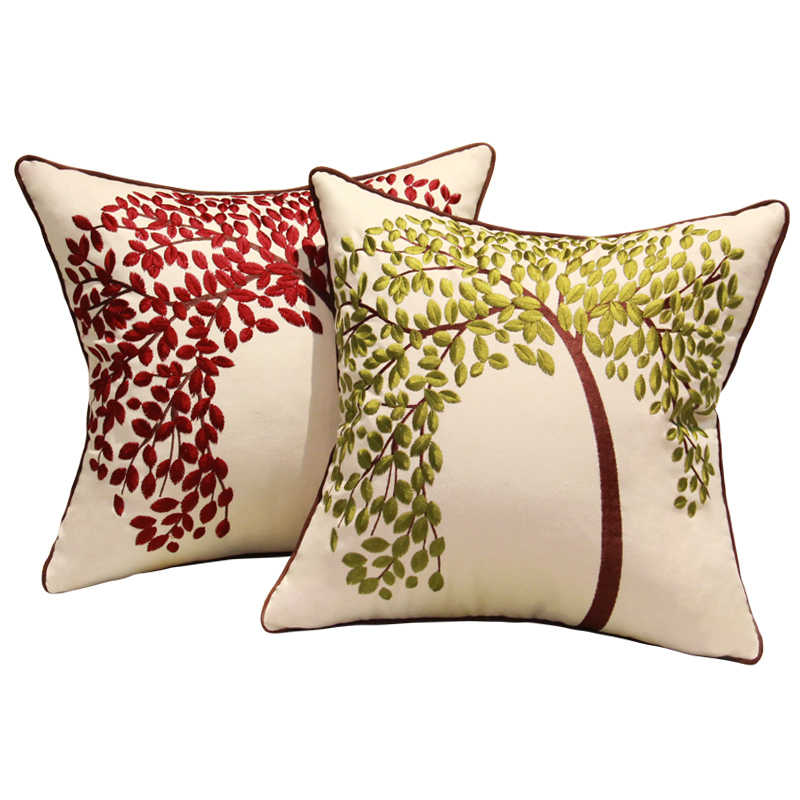 Avigers Мода пастырской подушки вышивка Древо жизни подушка с бабочкой в европейском стиле Стиль домашний Цветочный декор для дивана, стула подушка