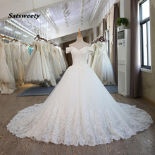 Satsweety Ball Gown V-Neck Wedding Dress Cathedral Train