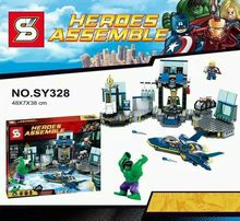 SY328 The Avengers 2 Age of Ultron superheroes hulk Thor Spaceship Counterattack Scenes Bricks Toys Compatible with legomifigure