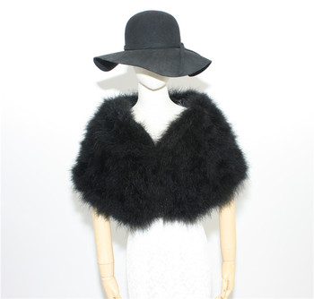 fur Pashmina warm autumn winter fur capes for women wedding capes of natural ostrich feather fur scarves white pink blue S26