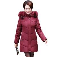 2017 חדש ארוך נשי רזה נשים מעיל חורף בגדים מכותנה בתוספת גודל מעיל חם לעבות Parka מעילים עם ברדס נשים בגיל העמידה