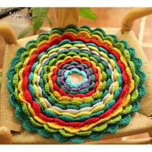 Handmade 3D Flower Sofa Chair Cushion DIY Hand Crochet Wool Round Seat Kitchen Mats Home Decor Housewarming Gift 42*42cm