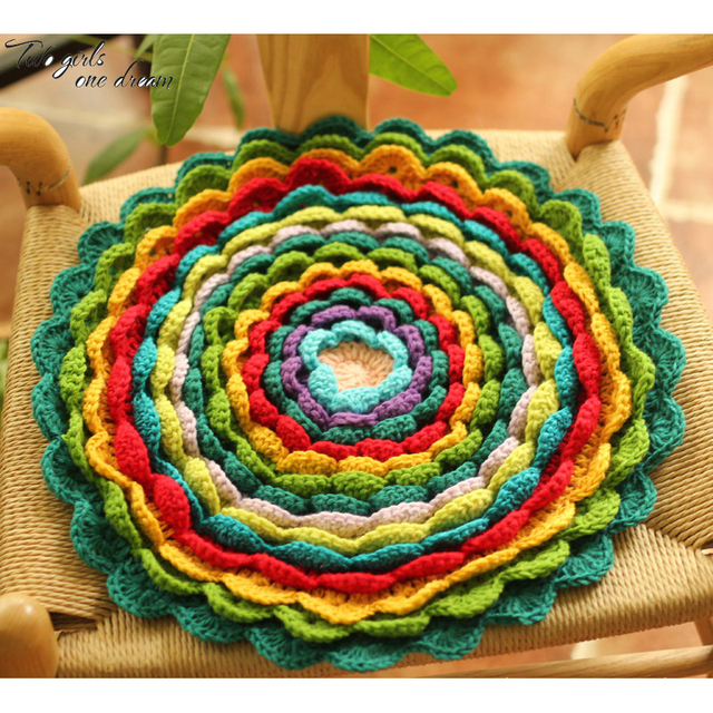 Handmade 3d Flower Sofa Chair Cushion Diy Hand Crochet Wool Round