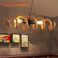 Nordic retro industrial Creative Loft pipe rope chandelier cafe bar personalized clothing shop Chandelier lamp