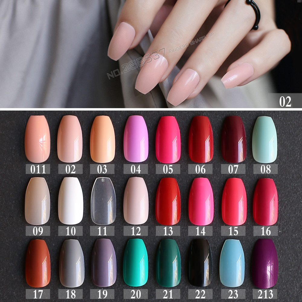 New hot False Coffin nails Rose Soft Pink Nude Red Brown Blue Fake ...