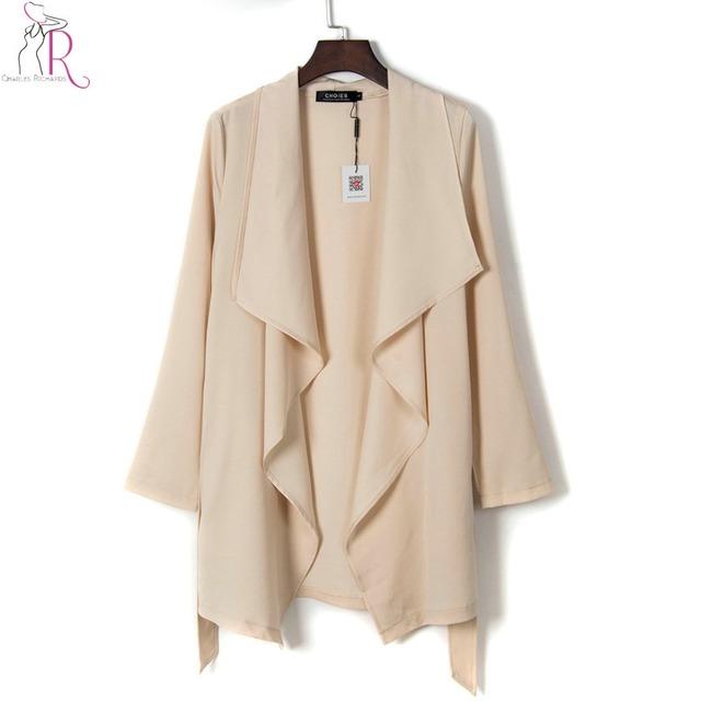 Mujeres elegantes cintura con cinturón gabardina beige asimétrico drapeado delantero solapa llanura breve abrigos 2017 nueva primavera loose clothing